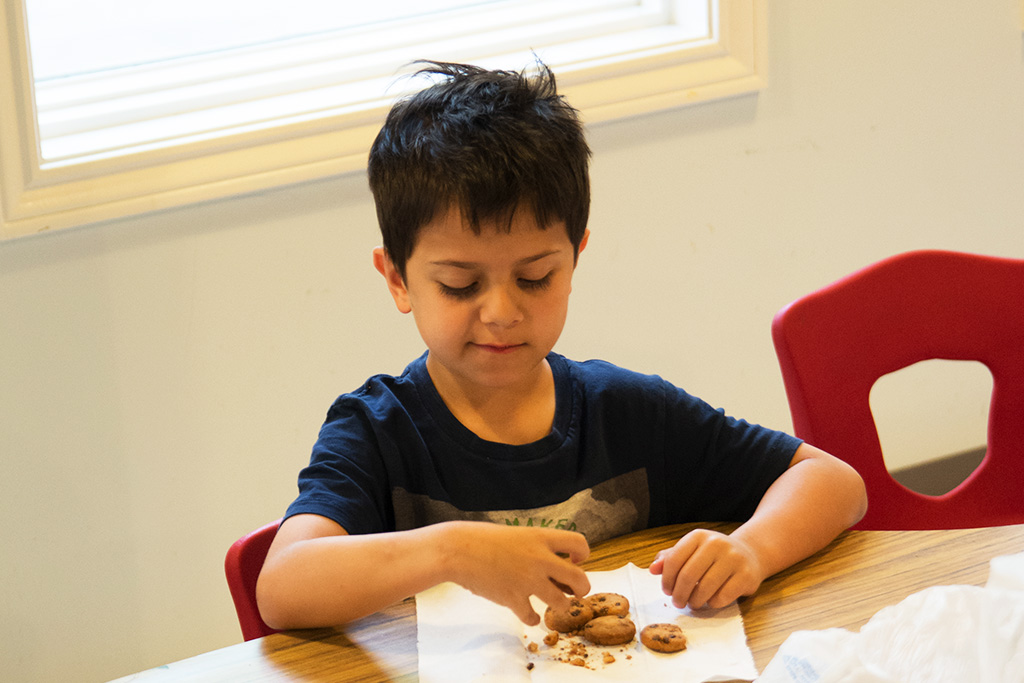 A Boy with Dark Hair eating a Cookie
