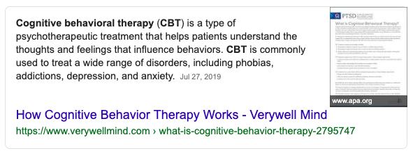 CBT Definition Screenshot