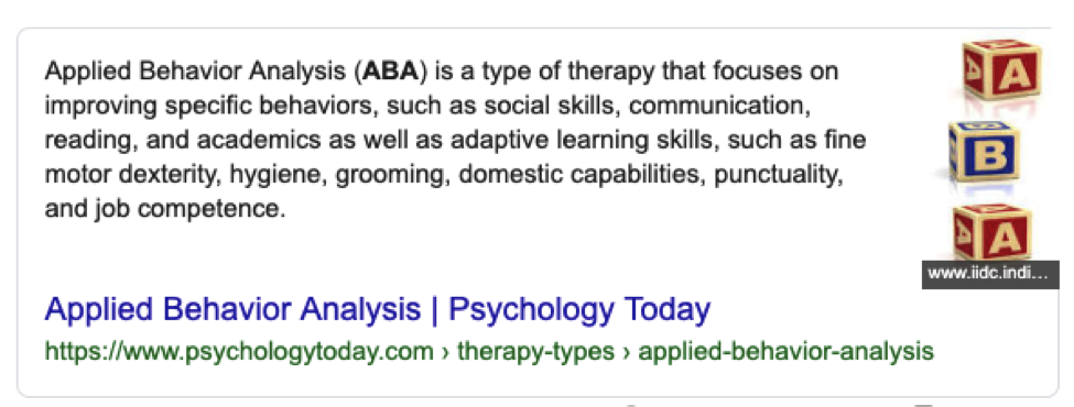 ABA Therapy Definition Screenshot